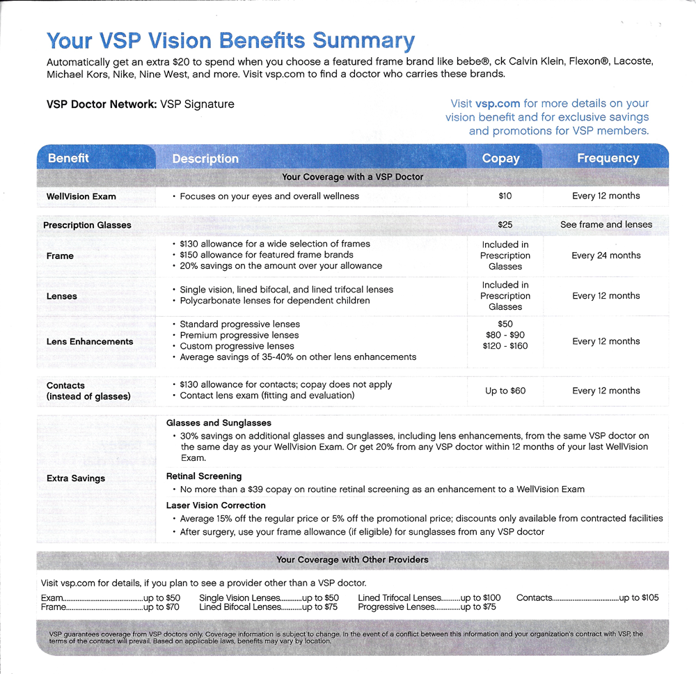 cant see the vsp benefit specifics